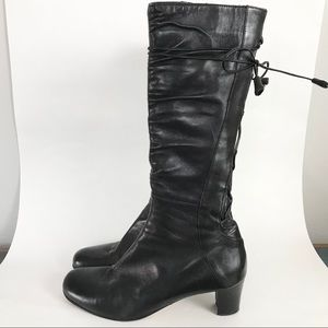 Taryn Rose 9.5 Amissa Boots Black Leather Boots